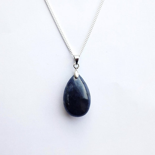 Sodalite Teardrop Pendant Necklace