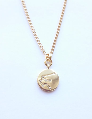 Gold Aquarius Charm Necklace