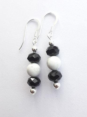 Rondelle and Howlite Bead Earrings