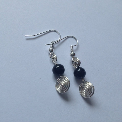 Black Agate Swirl Earrings