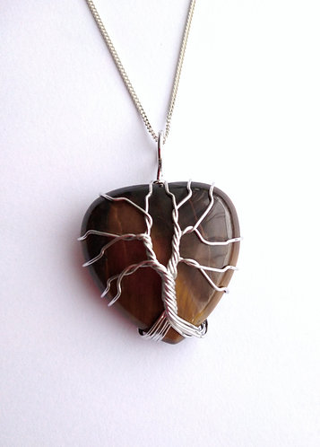 Tiger's Eye Tree of Life Pendant Necklace