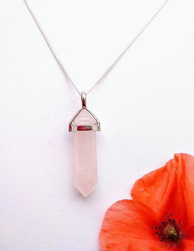 Rose Quartz Pendulum Point Necklace