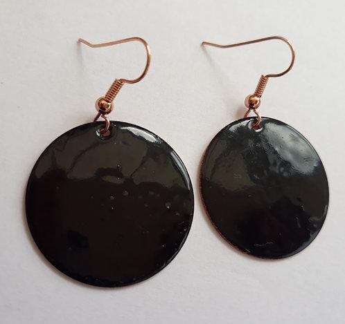 Black Round Disk Earrings