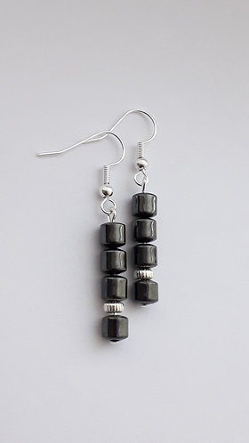 Hematite Drum Bead Dangle Earrings