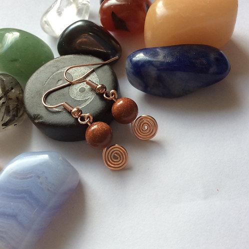 Goldstone Swirl Earrings