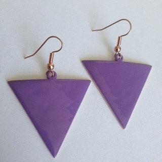 Purple Reverse Triangle Earrings