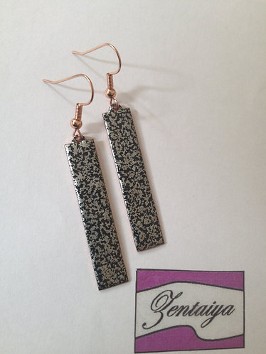 Black and Silver Textured Strip Earrings.