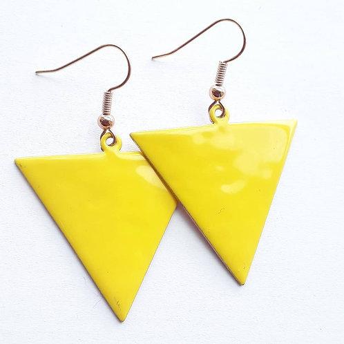 Yellow Reverse Triangle Earrings