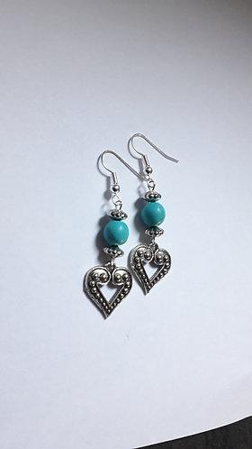 Turquoise Bead Heart Earrings
