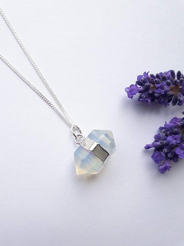 Opalite Long Hexagon Pendant Necklace