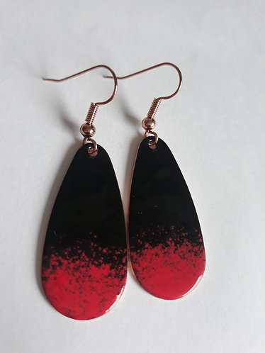 Black and Red Oval Drop Earrings