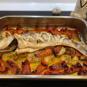Rick Steins Baked Sea Bass with Red Peppers
