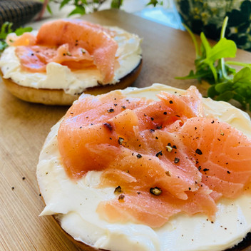 Classic Salmon & Cream Cheese Bagel with Verjuice