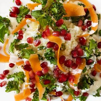 Bulgur wheat & Kale Salad with a Yogurt Verjuice Dressing