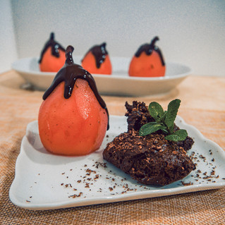 Verjuice Poached Pears & Chocolate Mousse