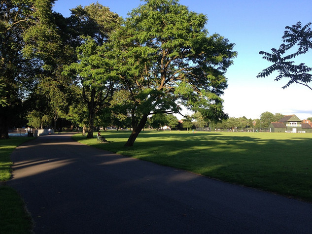 View across the park towards the tennis courts