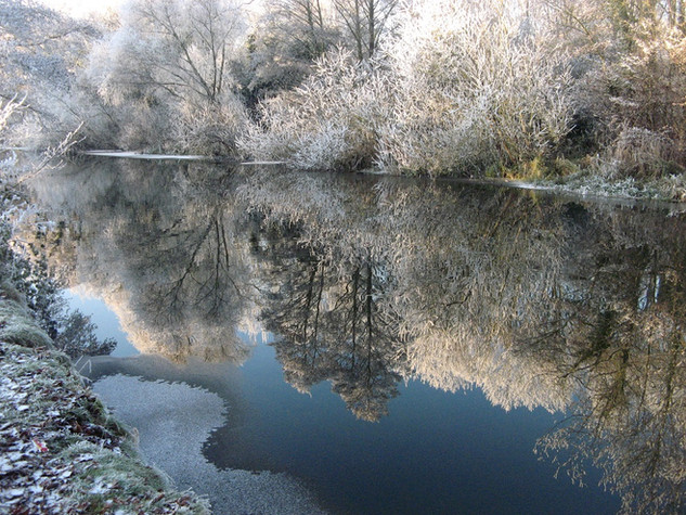 Frosty river and hoar frost