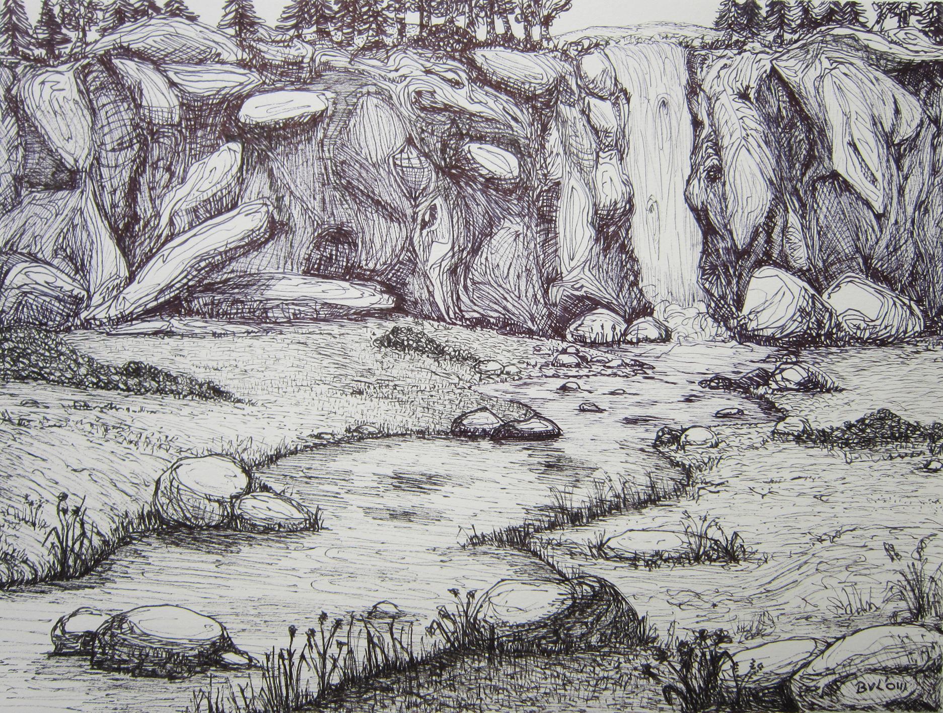 Rocks, stift en pen 32x24cm 2003