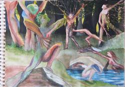 Life forest, aquarel