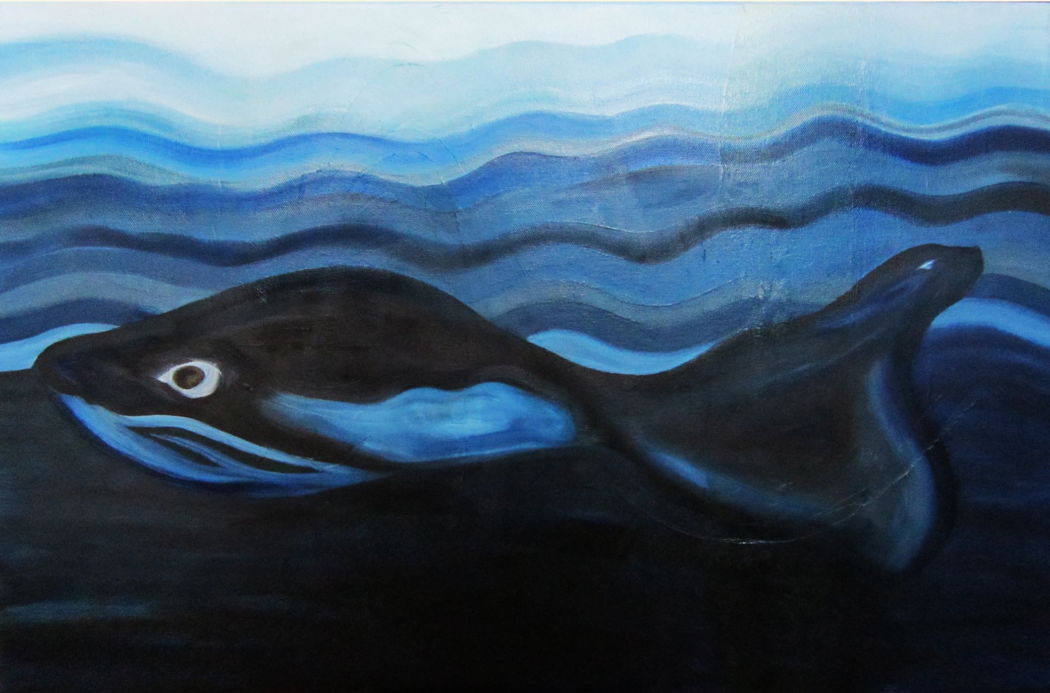Sea(L)whale, olieverf, 50 x 70, 2017