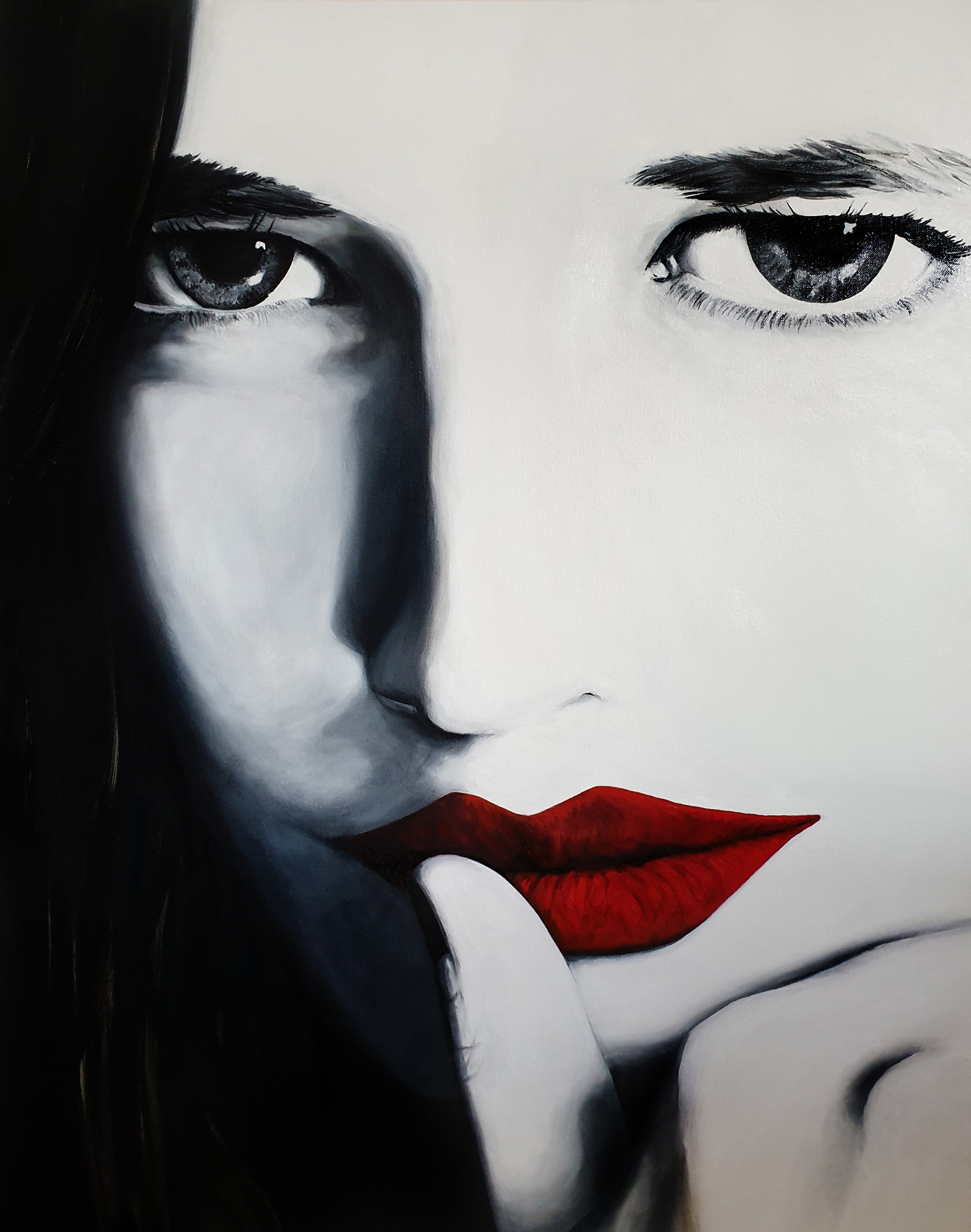 Red Lips 3, olieverf, 70 x 90, 2019