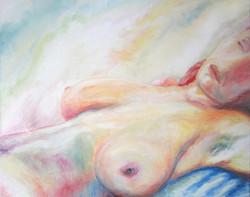 Vrouwen tors studie, acryll, 50 x 40 cm