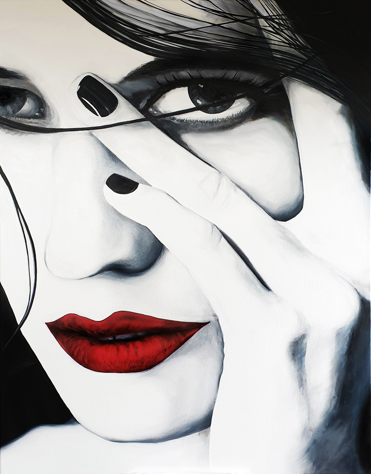 Red Lips 4, olieverf, 70 x 90, 2019