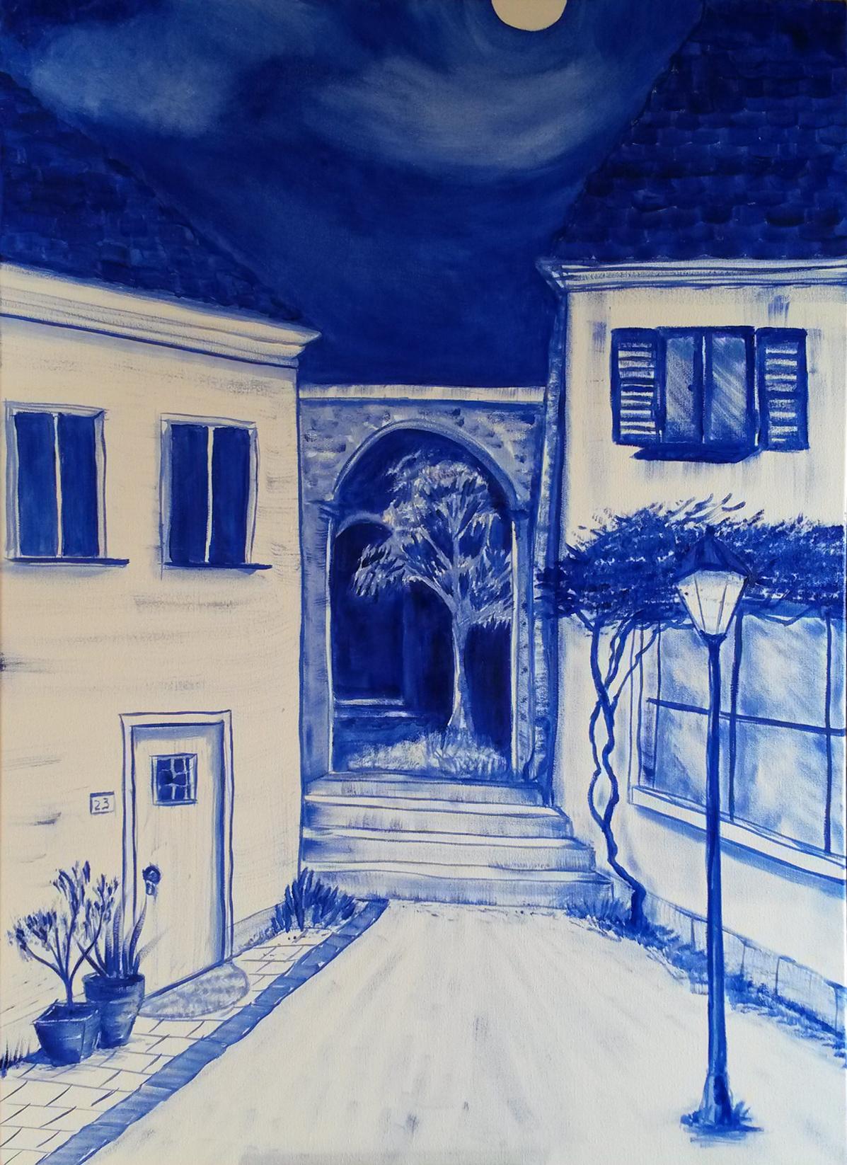 Blue moon, olieverf, 50 x 70, 2017