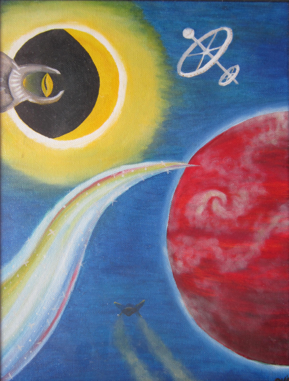 Space, olieverf, 15 x 20,  1990