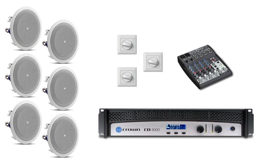 Paket sound system background musik , multi room dengan volume control