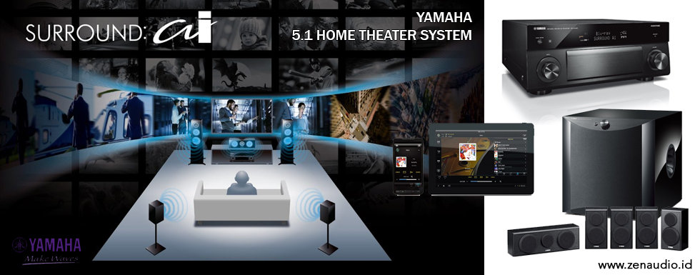Home Theater Yamaha 5.1 - Sound System Premium dengan Smartphone/Tablet Controller