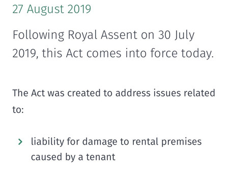 Residential Tenancies Amendment Act 2019 now in force.