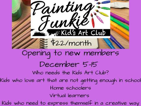Kids Art Club OPEN NOW!