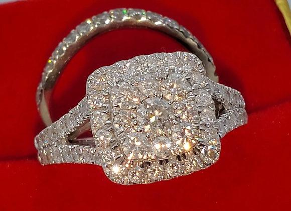 10k white gold diamond bridal set 1.5ctw