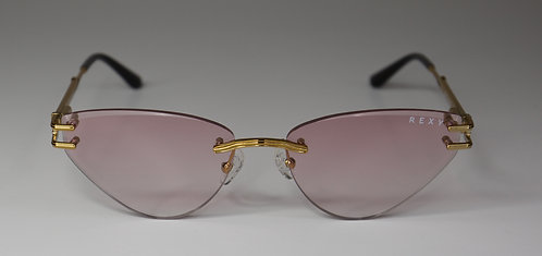 Too Shy - Rimless Sunglasses with Pink Lens and Gold Arms