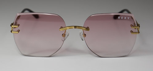 Sweet Dreamzzz - Rimless Sunglasses with Rose Lens & Gold Arms