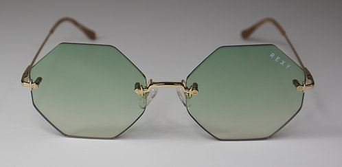 Idol - Hexagon Rimless Sunglasses with Green Lens & Gold Arms