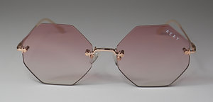 Idol - Hexagon Rimless Sunglasses with Rose Lens & Gold Arms