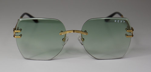 Sweet Dreamzzz - Over Sized Rimless Sunglasses with Green Lens & Gold Arms