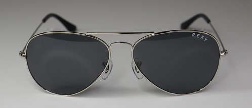 Magic - Aviator Style Sunglasses with Silver Frame and Black Lens
