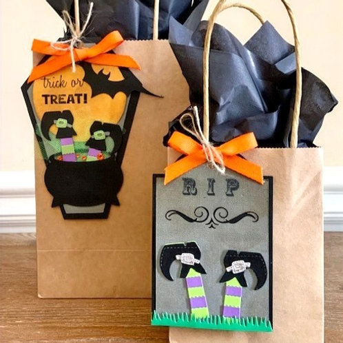 Witch's Feet Halloween Tags