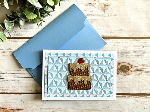 Blue Geometric Birthday Card