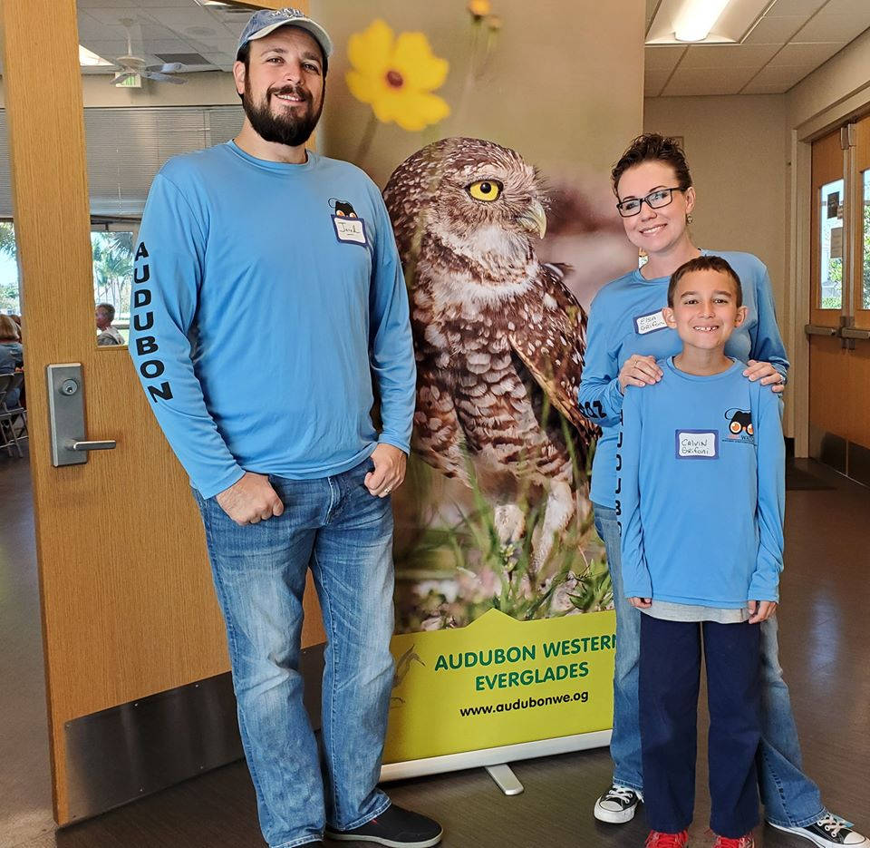 Jared, his wife Elsa, and son Calvin at the 2020 Burrowing Owl volunteer training