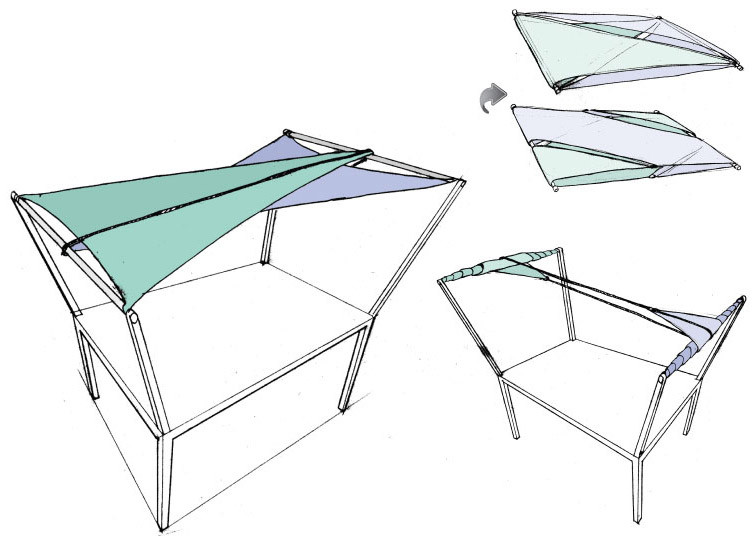 Early concept rendering of the shade sail.