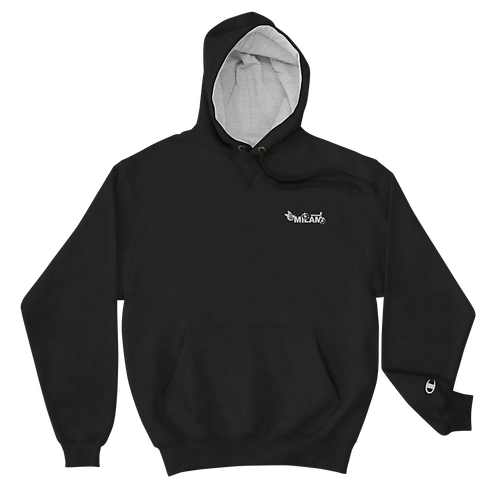 Milam White Embroidered Champion Hoodie