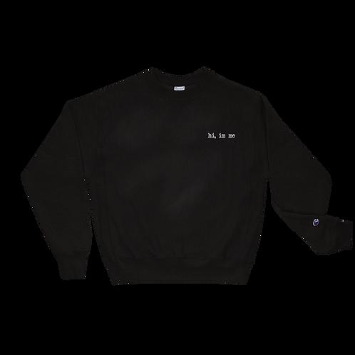 """hi, im me"" White Embroidered Champion Sweatshirt"