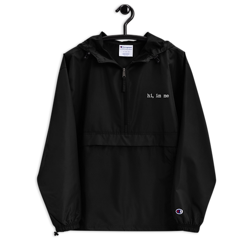 """""""hi, im me"""" White Embroidered Champion Packable Jacket"""