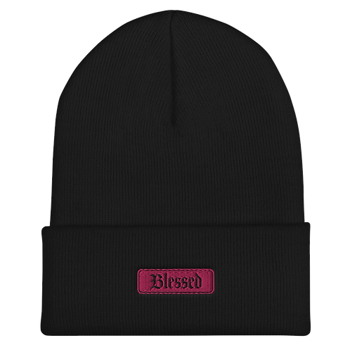 Pink Blessed Cuffed Beanie