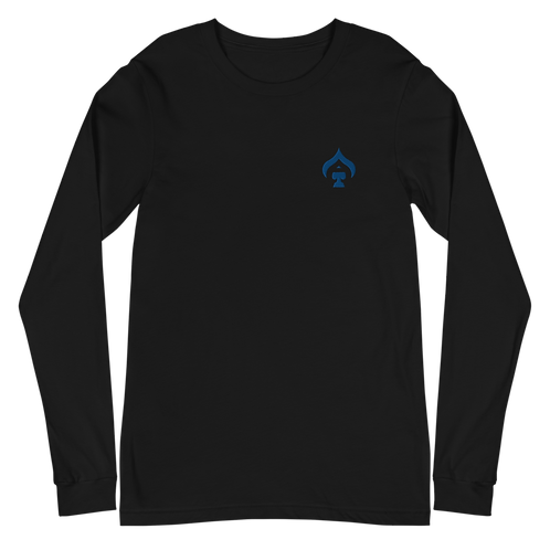 Ace Embroidered Blue Unisex Long Sleeve Tee