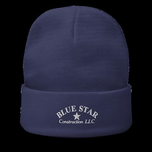 Blue Star Embroidered Beanie